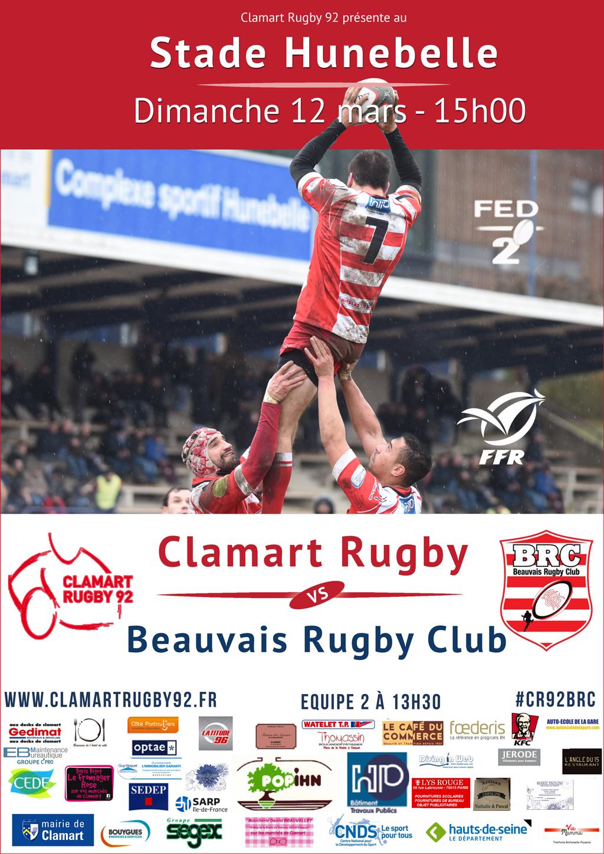 Affiche Clamart Rugby 92 contre Beauvais 12 mars 2017 fédérale 2