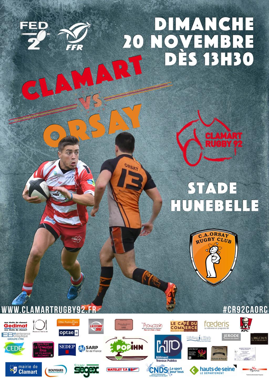 Affiche match fédéral 2 saison 2016/2017 Clamart Rugby 92 contre Orsay 20/11/16