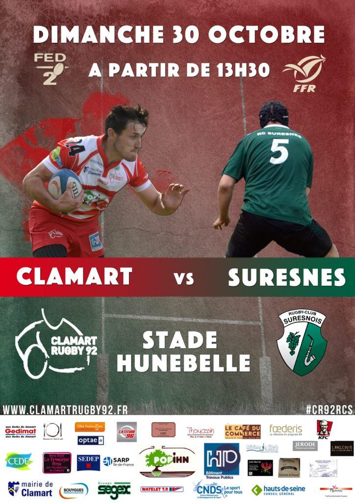 Affiche march fédéral 2 saison 2016/2017 Clamart Rugby 92 contre Suresnes 3/10/16