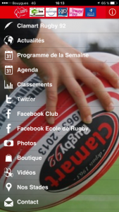 Clamart Rugby 92 Applications iPhone et Android