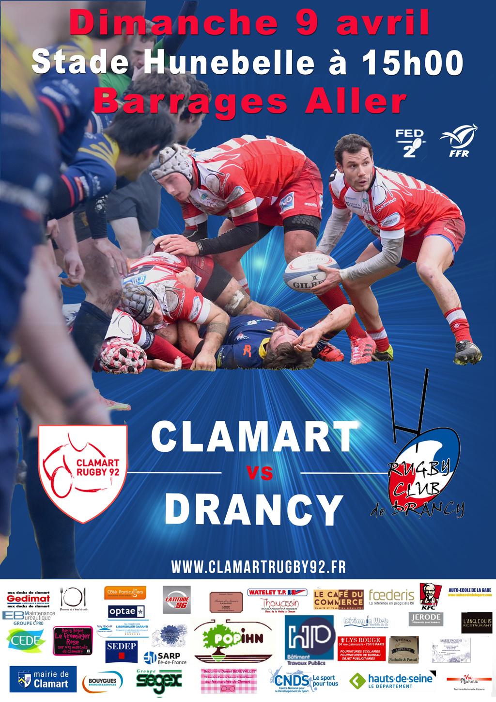 Affiche match fédéral 2 saison 2016/2017 Clamart Rugby 92 contre Drancy Barrages Aller 9/04/17