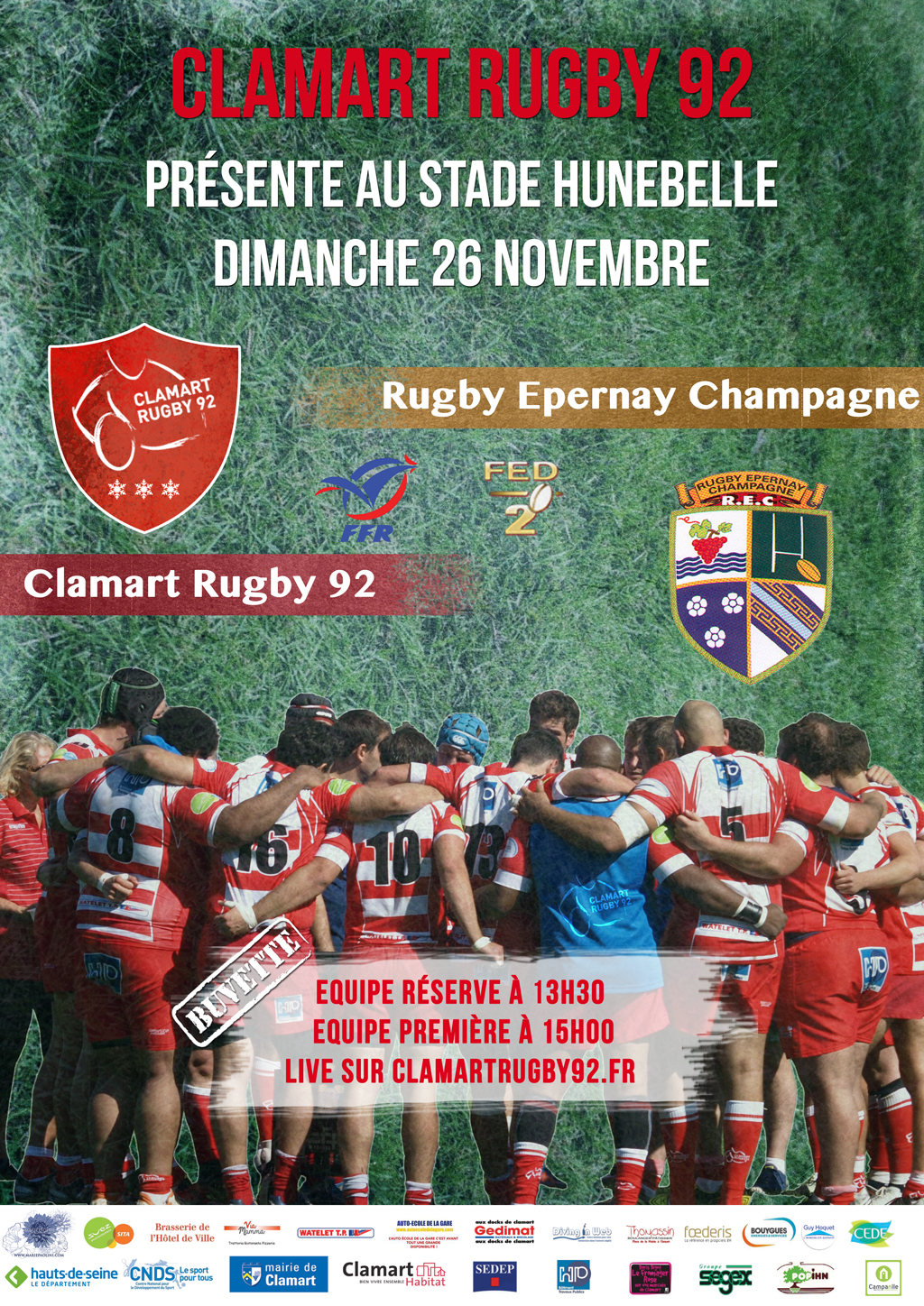 Clamart Rugby 92 affiche Seniors contre Epernay 26 novembre 2017