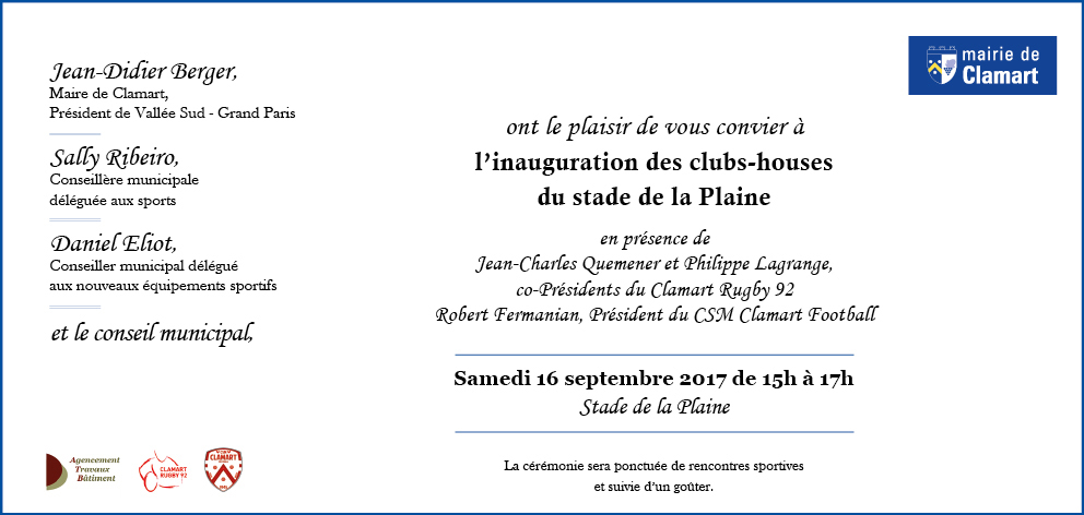 Clamart Rugby 92 inauguration du club house 16 septembre 2017