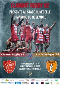 Clamart Rugby 92 reçoit Orsay le 5 novembre 2017 en Fédérale 2