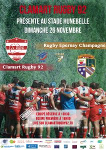 Clamart Rugby 92 Match Fédérale 2 contre Epernay 26 novembre 2017