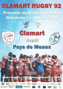 Clamart Rugby 92 - Affiche seniors federale 2 contre Pays de Meaux 14 janvier 2018