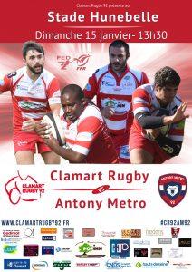 Affiche match fédéral 2 saison 2016/2017 Clamart Rugby 92 contre Antony 15/01/17