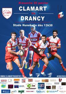 Affiche match fédéral 2 saison 2016/2017 Clamart Rugby 92 contre Drancy 29/01/17