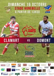 Seniors Clamart Rugby 92 contre Domont octobre 2016 Fédérale 2 Rugby