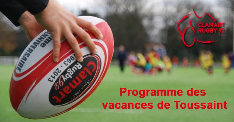 Programme des vacances de Toussaint 2016 de Clamart Rugby 92