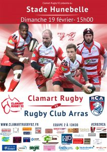 Affiche Clamart Rugby 92 contre Arras le 19 février 2017