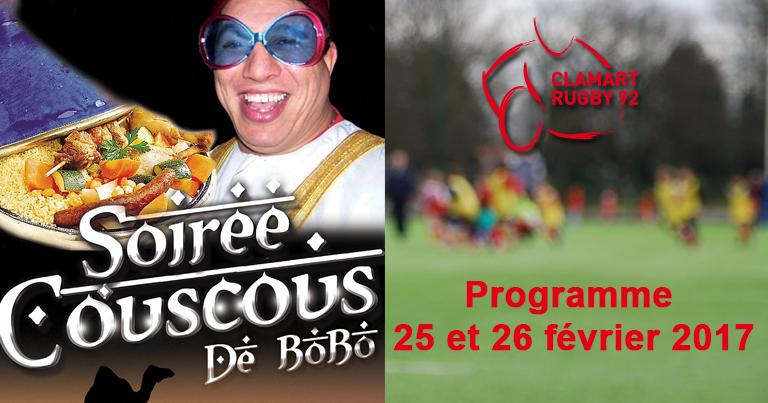 Programme du 25-26 février de Clamart Rugby 92 club d'Ile de France