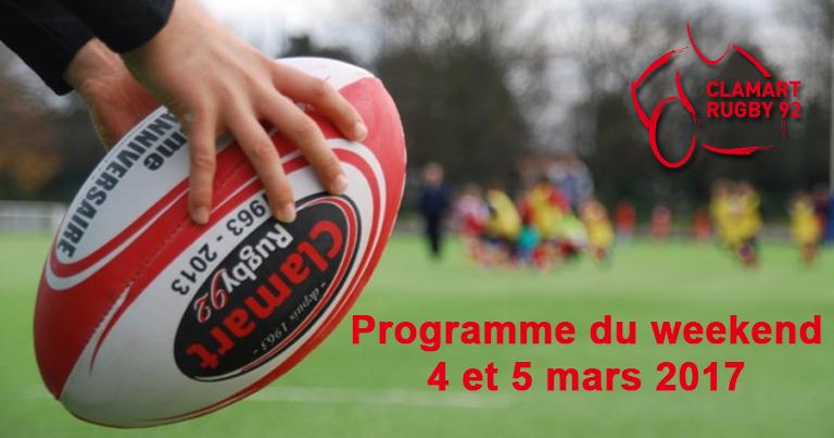 Programme du 4-5 mars de Clamart Rugby 92