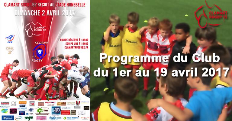 Clamart Rugby 92 - Programme du 1er au 19 avril 2017