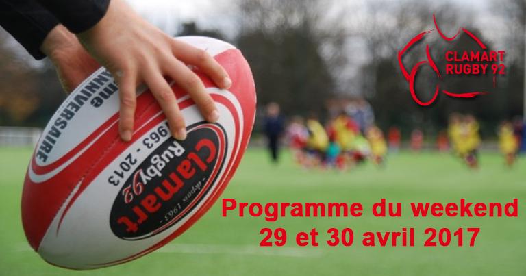 Clamart Rugby 92 Programme du 26 au 30 avril 2017