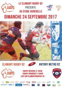 Affiche du match à domicile au Stade Hunebelle Clamart Rugby 92 contre Antony Métro 92