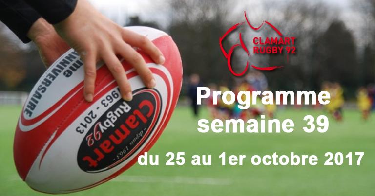Clamart rugby 92 Programme de la semaine 39 2017