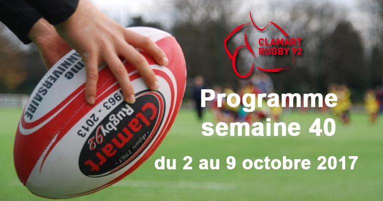 Clamart Rugby 92 Programme de la semaine 40 2017