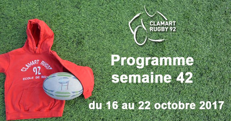 Clamart Rugby 92 Programme de la semaine 42