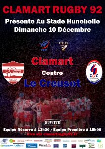 Clamart Rugby 92 Affiche match seniors contre Le Ceusot 10 décembre 2017