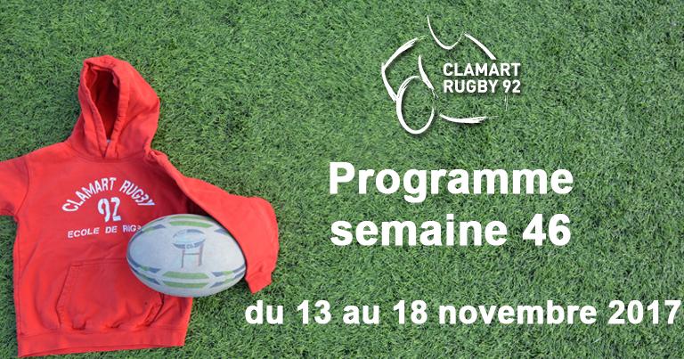 Clamart Rugby 92- Programme de la semaine 46 2017