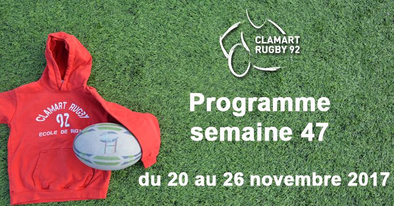 Clamart Rugby 92- Programme de la semaine 47 2017