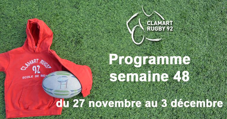 Clamart Rugby 92 Programme de la semaine 48