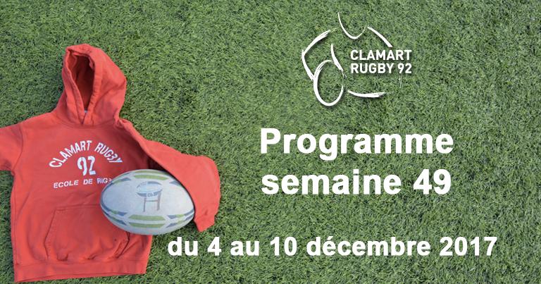 Clamart Rugby 92 Programme de la semaine 49