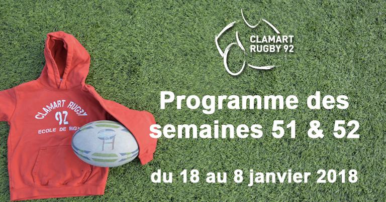 Clamart Rugby 92 Programme des semaines 51 et 52