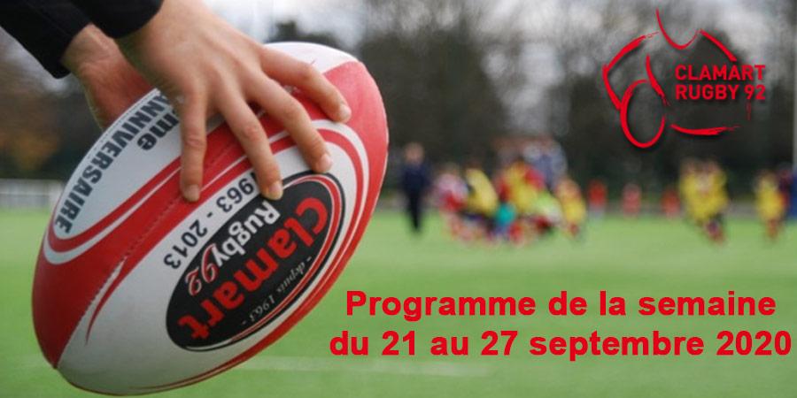 Programme de la semaine 39 2020 du Clamart Rugby 92