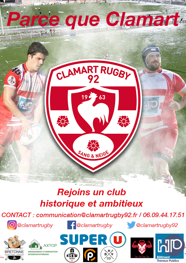 affiche recrutement Clamart Rugby 92