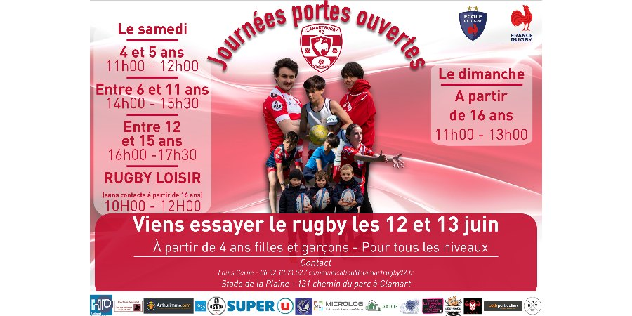 Affiche Journées portes ouvertes les 12 et 13 juin au Clamart Rugby 92