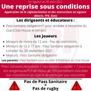 Une reprise sous conditions sanitaires pour le Clamart Rugby 92 - image des règles précédentes