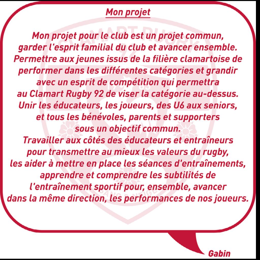 Nouveau directeur sportif de l'école de rugby du Clamart Rugby 92 - texte du projet de Gabin