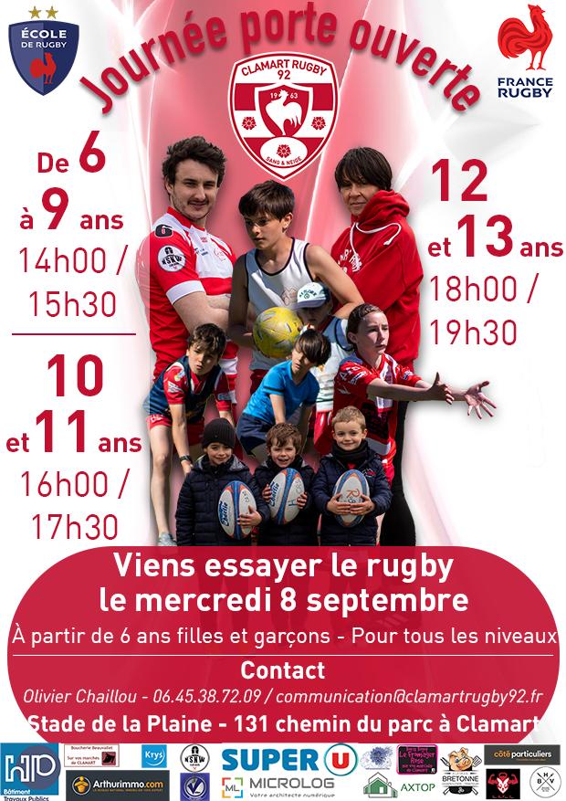 Journée portes ouvertes au Clamart Rugby 92 - affiche