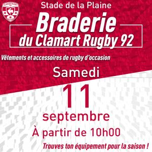 Affiche braderie - braderie du club ce samedi 8 septembre à partir de 10h au stade de la Plaine
